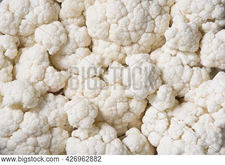 Texture Of Raw White Cauliflower , Flat Lay Copy Space