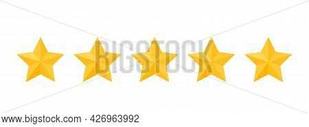 Five Stars Rating Review. 5 Yellow Rate Feedback Icons. Product Evaluation Rank Isolated On White Ba