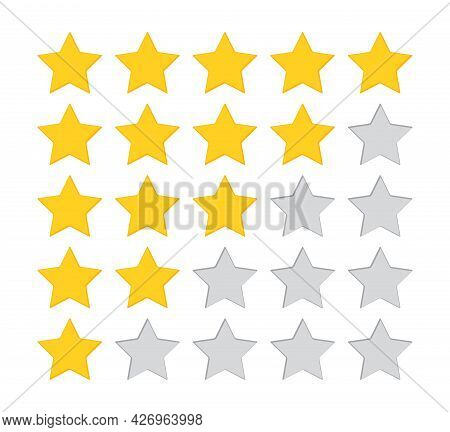 5 Star Rate. Five Review Icons. Yellow, Gray Feedback Rating Signs. Satisfaction Golden Mark. Produc