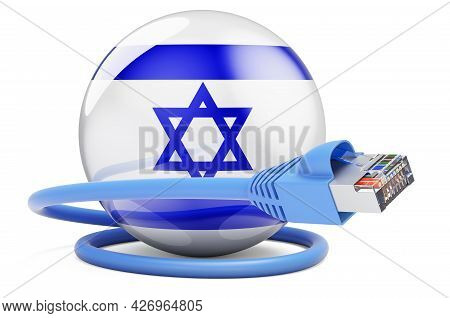 Internet Connection In Israel. Lan Cable With Israeli Flag. 3d Rendering Isolated On White Backgroun