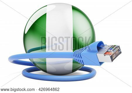 Internet Connection In Niger. Lan Cable With Niger Flag. 3d Rendering Isolated On White Background