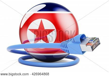 Internet Connection In North Korea. Lan Cable With North Korean Flag. 3d Rendering Isolated On White