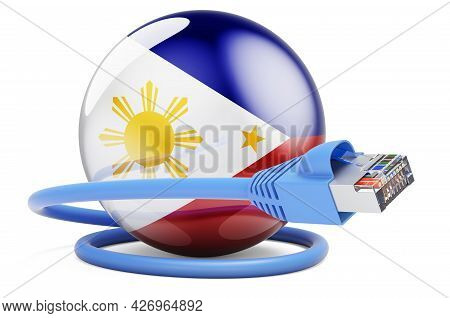 Internet Connection In Philippines. Lan Cable With Filipino Flag. 3d Rendering Isolated On White Bac