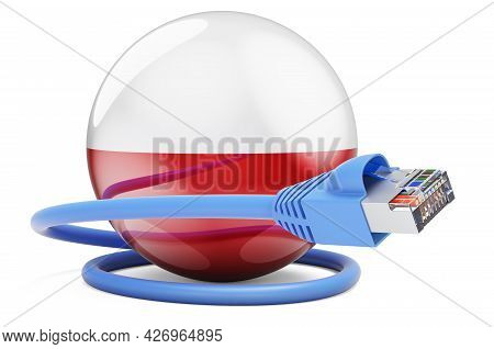 Internet Connection In Poland. Lan Cable With Polish Flag. 3d Rendering Isolated On White Background