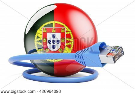 Internet Connection In Portugal. Lan Cable With Portuguese Flag. 3d Rendering Isolated On White Back