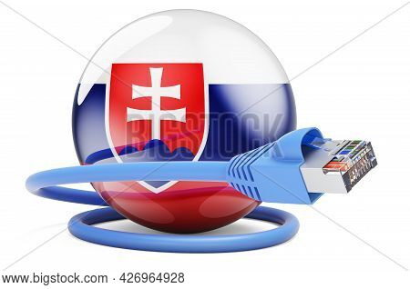 Internet Connection In Slovakia. Lan Cable With Slovak Flag. 3d Rendering Isolated On White Backgrou