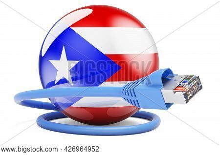 Internet Connection In Puerto Rico. Lan Cable With Puerto Rican Flag. 3d Rendering Isolated On White