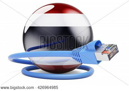 Internet Connection In Thailand. Lan Cable With Thai Flag. 3d Rendering Isolated On White Background