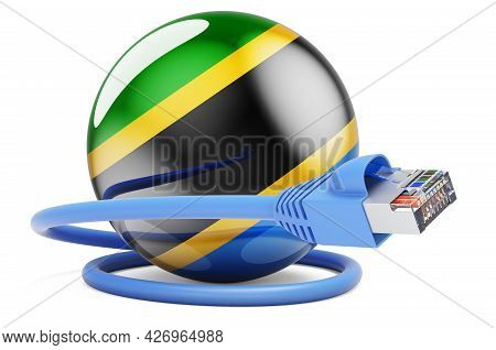Internet Connection In Tanzania. Lan Cable With Tanzanian Flag. 3d Rendering Isolated On White Backg