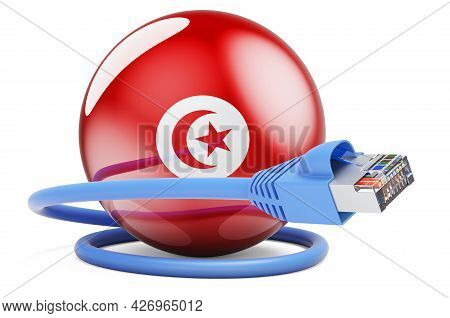 Internet Connection In Tunisia. Lan Cable With Tunisian Flag. 3d Rendering Isolated On White Backgro