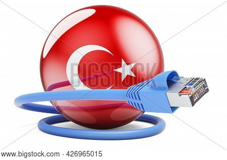 Internet Connection In Turkey. Lan Cable With Turkish Flag. 3d Rendering Isolated On White Backgroun