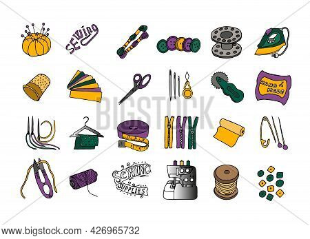 A Set Of Tools For Needlework: Sewing Machine, Iron, Scissors, Spools Of Thread, Buttons, Needles In