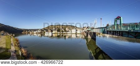 Traben-trarbach, Germany - February 21, 2021: Scenic Panoramic View To Traben Trarbach With River Mo