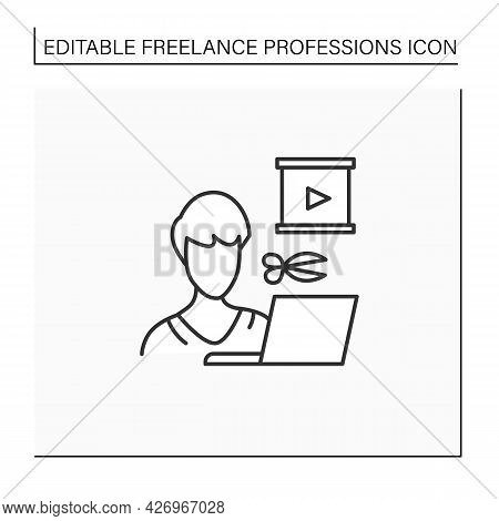 Video Editor Line Icon.video Production, Post-production Of Film Making.create, Cut, Produce Animati