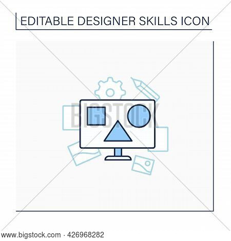 Composition Line Icon. Arranged, Distributed, Aligned And Compiled Design. Highly Functional And Eff