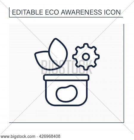 Ecology Line Icon. Reusable Tableware. Returnable Use Of Plastic Containers. Environment Protection.
