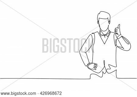 Single Continuous Line Drawing The Steward With A Thumbs-up Gesture Is Ready To Serve Airplane Passe