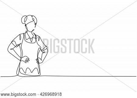 Single One Line Drawing Of Young Beauty Female House Maid Posing With Hands On Hip. Professional Wor