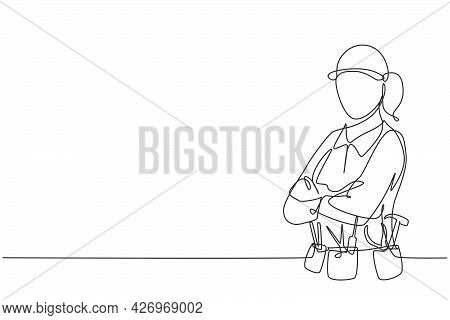 Continuous One Line Drawing Of Young Handy Woman Pose Cross Arms On Chest Before Going To Work. Prof