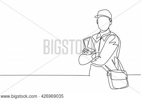 Single Continuous Line Drawing Of Young Postman Cross Arm On Chest And Holding Envelope Letters. Pro