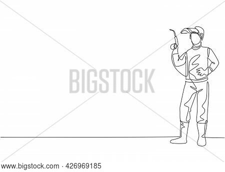 Continuous One Line Drawing Of Young Male Welder Pose Standing And Holding A Welding Machine Nozzle.