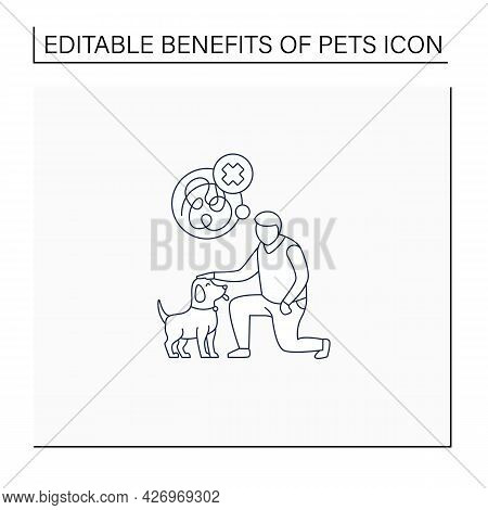 Pets Benefits Line Icon.reducing Anxiety. Calming Down. Dog Help With Depression.reduce Stress. Anim