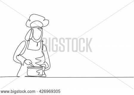 Single One Line Drawing Of Young Beauty Female Chef Stirring Soup On Pan To Mix Seasoning. Healthy O