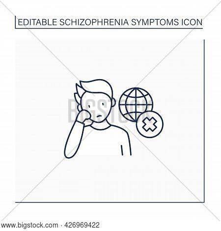 Negative Symptoms Line Icon.disinterest. Apparent Environment Unawareness, Social Withdrawal.schizop