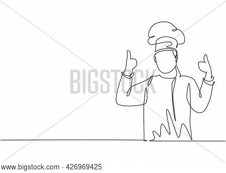 Continuous One Line Drawing Of Young Happy Handsome Male Chef Giving Thumbs Up Gesture. Excellent Ta