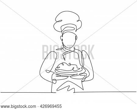 Continuous One Line Drawing Of Young Handsome Man Chef In Uniform Serving Main Dish To Customer At H