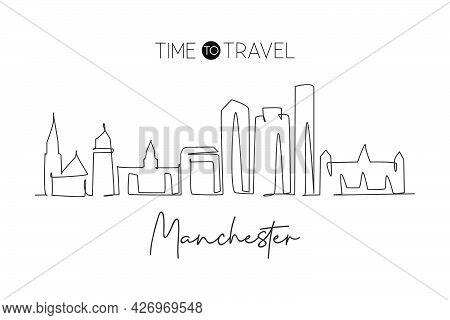 Single Continuous Line Drawing Manchester Skyline, New Hampshire. Famous City Scraper Landscape. Wor