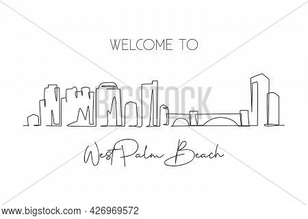 One Single Line Drawing West Palm Beach City Skyline Florida. World Historical Town Landscape. Best