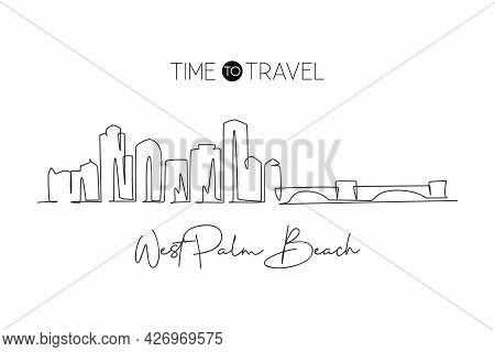 Single Continuous Line Drawing West Palm Beach Skyline, Florida. Famous City Scraper Landscape. Worl