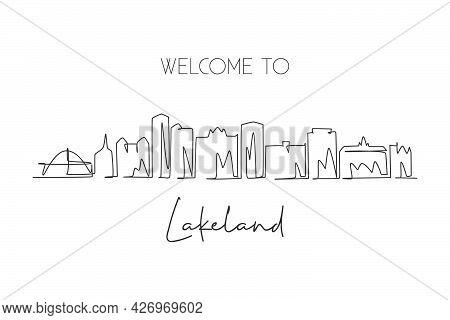 Single Continuous Line Drawing Of Lakeland Skyline, Florida. Famous City Scraper Landscape Sign. Wor