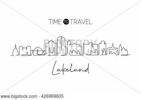 One Continuous Line Drawing Lakeland City Skyline, Florida. Beautiful Landmark Art. World Landscape