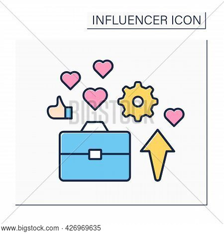 Industry Expert Color Icon.sharing Content At Industry Sector, Information On Followers. Blogging Co