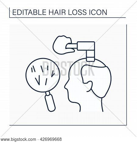 Diagnostic Line Icon. Hair Loss Diagnosis. Doctor Examines Condition Of Hair, Analyzes Scalp And Off