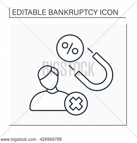 Debt Collector Line Icon. Person Recovering Money Owed On Delinquent Accounts. Getting Percentages O