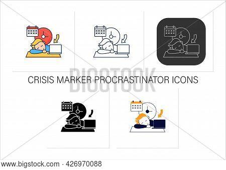 Crisis Marker Procrastinator Icons Set.laziness. Defer Task. Sleep At Workplace. Working On Stressfu