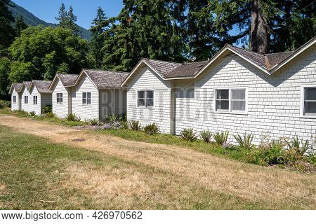 Washington, Usa - June 9, 2021: The Cabins At Lake Cresent Lodge, Available For Tourists To Rent Alo