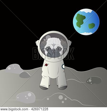 Pug In A Spacesuit On The Moon.
