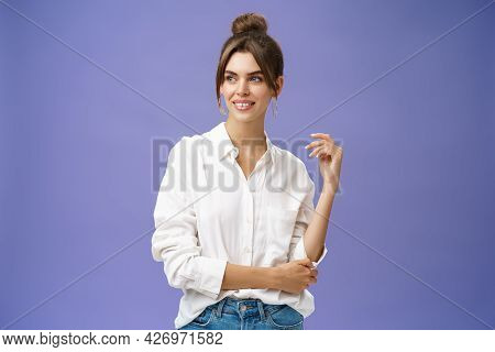 Feminine And Stylish Modern Charming Girl With Gapped Teeth And Pimple Posing In Trendy White Blouse