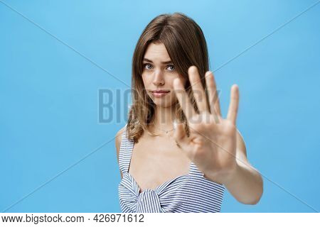Silly And Shy Insecure Attractive Girl Pulling Hand Towards To Cover Face From Camera Making Moody T