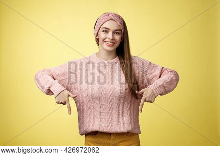 Tender Young 20s European Girl In Sweater Smiling Broadly Finally Take-off Braces Pointing Down Prom