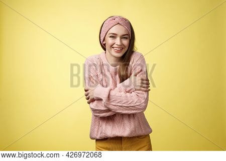 Getting Chilly, Better Put On Coat. Charming Cute Young Tender European Woman Wearing Sweater Embrac