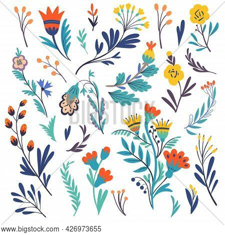 Cute Abstract Simple Colorful Doodle Plants And Flowers Isolated On White Background.