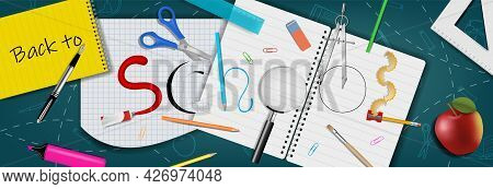 Back To School Banner With Realistic School Supplies