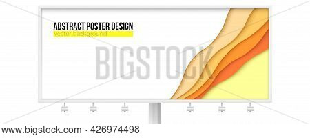 Billboard With Abstract Geometric Shapes. Paper Cut Style. Multi Layered Background. Vector 3d Illus