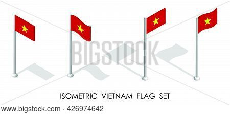 Isometric Flag Of Vietnam In Static Position And In Motion On Flagpole. 3d Vector