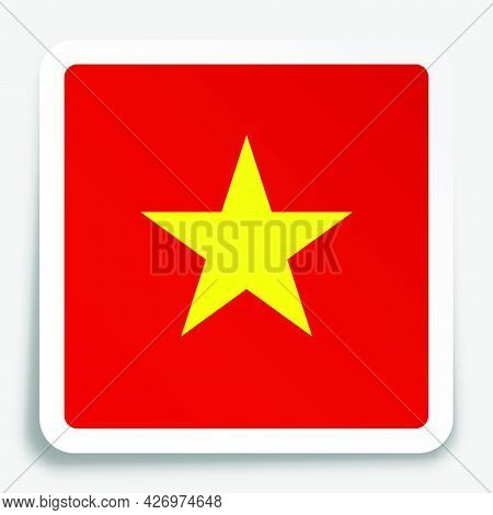 Vietnam Flag Icon On Paper Square Sticker With Shadow. Button For Mobile Application Or Web. Vector